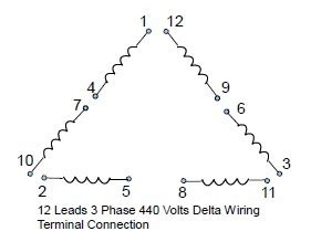 12 leads terminal wiring guide for dual voltage delta connected ac induction motor