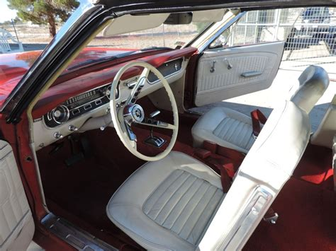 ford mustang convertible red  white interior