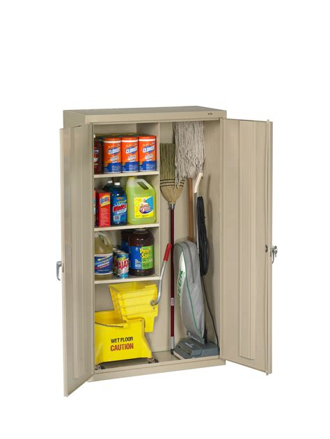 cleaning supplies storage cabinet tennsco storage made easy janitorial supply cabinet