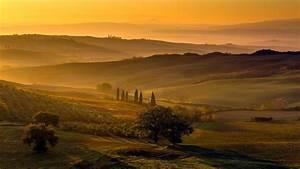 Hills Fog Italy Hk Melancholy Toscana Amber Wallpaper