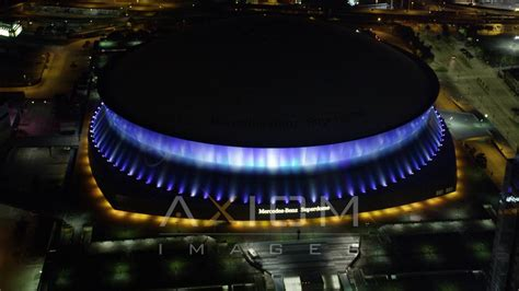 What's the best way to see. Mercedes-Benz Superdome at night, New Orleans Aerial Stock Footage | AX63 025 4K youtube - YouTube