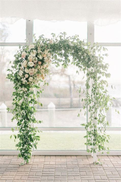 greenery wedding ceremony arch greenery covered trellis