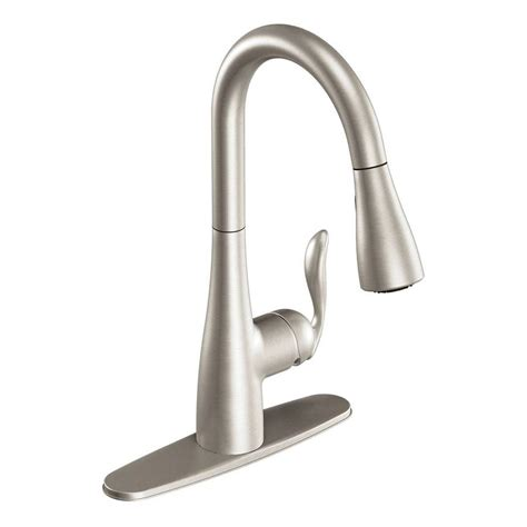 moen kitchen faucets lowes shop moen arbor stainless 1 handle deck mount pull