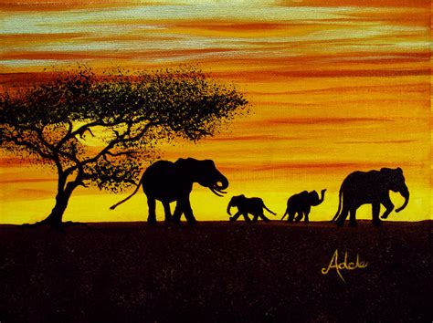 elephant silhouette sunset painting elephant silhouette painting by adele moscaritolo