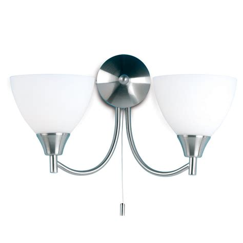 endon lighting 2 arm wall mounted light fitting with pull chord satin chrome glass 1805 2sc