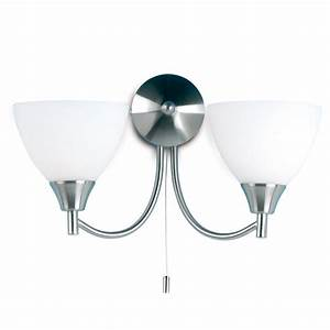 Endon Lighting 2 Arm Wall Mounted Light Fitting With Pull