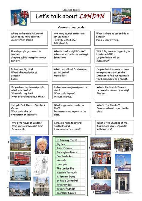 lets talk  london worksheet  esl printable