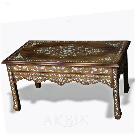 mother of pearl coffee table mediterranean levantine syrian furniture inlaid with