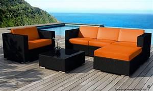 Salon De Jardin Design : salon de jardin miami en rsine tresse noire coussins bleu ~ Dailycaller-alerts.com Idées de Décoration