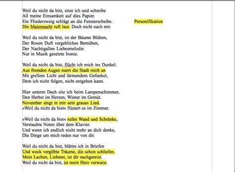 Metapher, Personifikation.. beim gedicht weil du nicht da ...