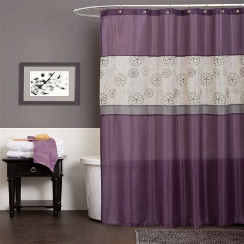 beautiful shower curtain closed white bath tub side simple