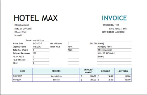 hotel invoice excel invoice templates