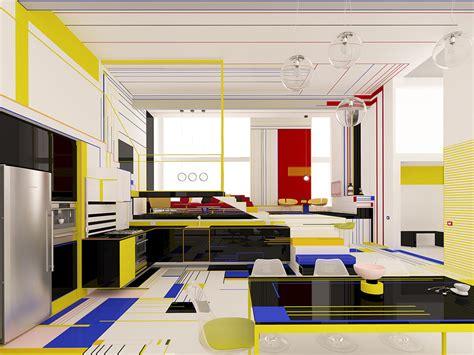 abstract  colorful interior design  piet mondrian