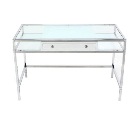 glass desk with storage chrome and glass one drawer writing table desk at 1stdibs