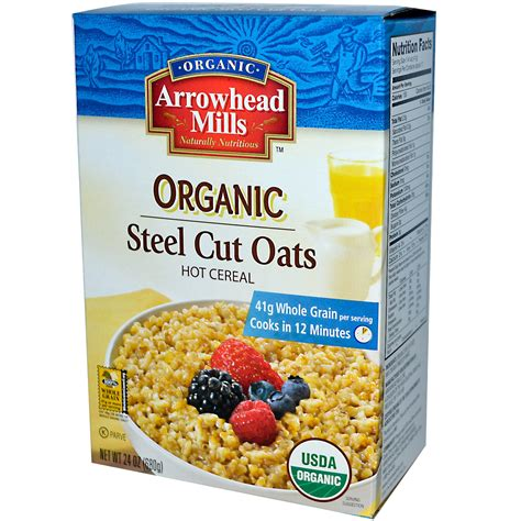 Arrowhead Mills, Organic Steel Cut Oats, Hot Cereal, 24 oz (680 g)   iHerb.com