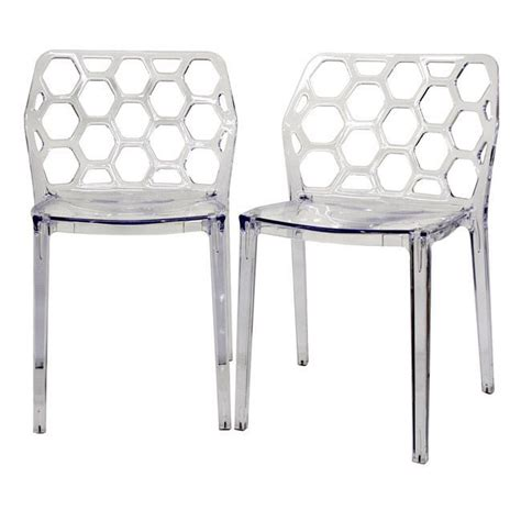 honeycomb clear acrylic modern dining chair set of 2