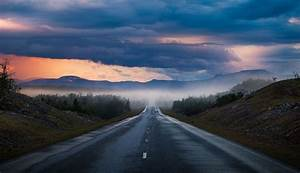 Nature, Photography, Landscape, Road, Sunset, Mountains, Summer, Mist, Clouds, Sky, Trees