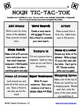 noun tic tac toe  teachers clubhouse  teachers