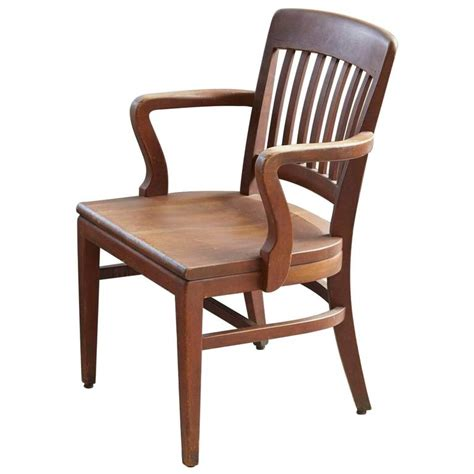 W H Gunlocke Chair Company by 1920s Solid Oak Office Armchair By W H Gunlocke Chair Co