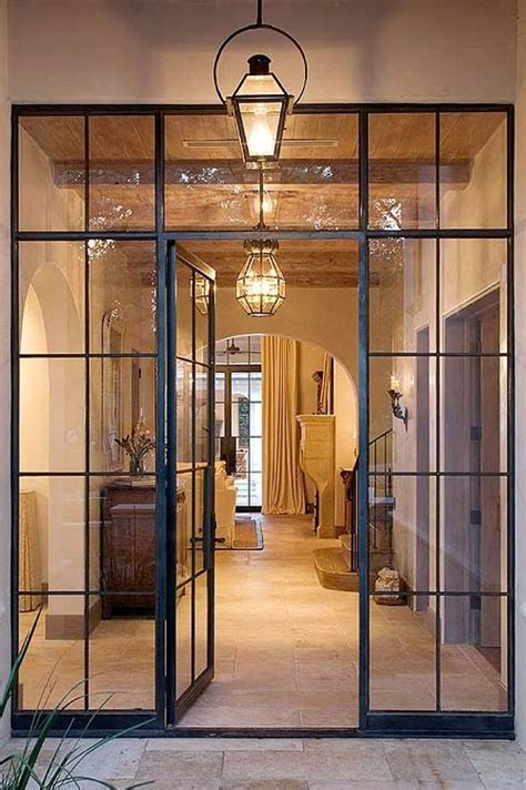 classic steel door frame french style wide crippled sidetile clear glasses