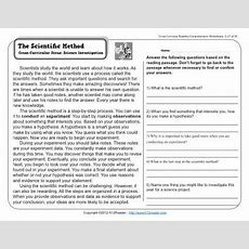 The Scientific Method  3rd Grade Reading Comprehension Worksheet