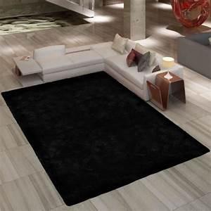 Tapis a poil long noir 80 x 150 cm 2600g m2 achat for Canapé convertible avec tapis à poil long