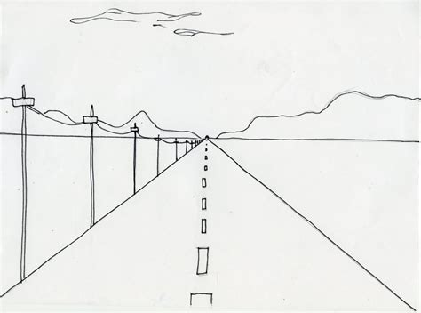 One Point Perspective Landscape Drawing