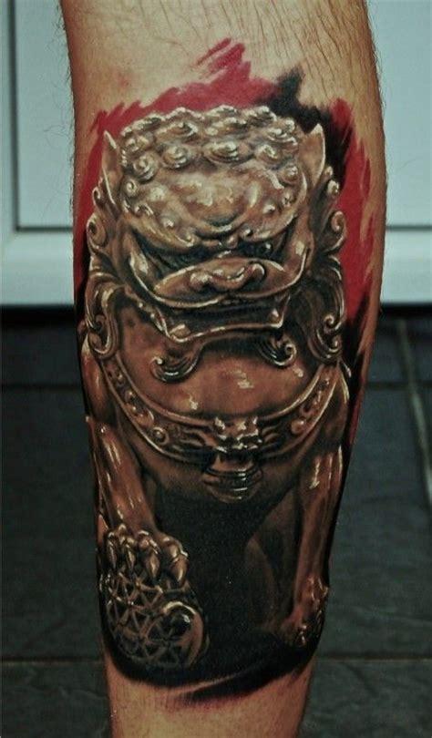 foo dog tattoos  leg