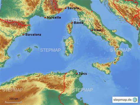 westliches mittelmeer von pnfshf landkarte fuer das