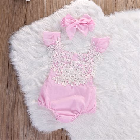 Newborn Infant Baby Girls Pink Lace Floral Romper Backless Jumpsuit Outfits Set +headband ...