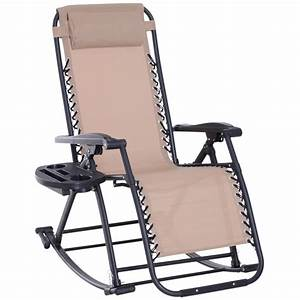 Outsunny, Folding, Zero, Gravity, Rocking, Lounge, Chair, With, Cup, Holder, Tray, -, Walmart, Com