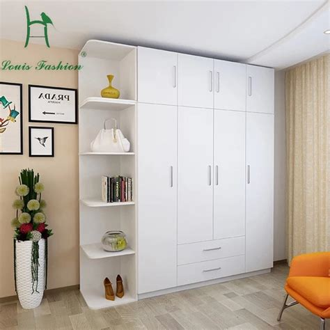 louis fashion simple modern economy bedroom wooden  big white wardrobe  wardrobes