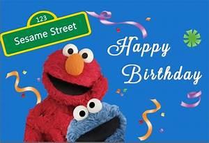 7x5FT Sesame Street Elmo Blue Wall Happy Birthday Ribbons ...