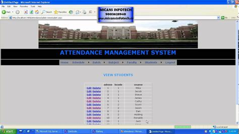 best java template system attendance management system youtube