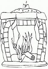 Fireplace Coloring sketch template