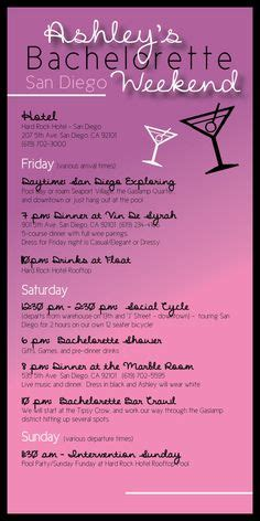 bachelorette party itinerary template google search