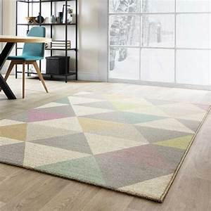 Tapis De Salon Moderne : tapis moderne de salon multicolore pastel aux formes g om triques ~ Teatrodelosmanantiales.com Idées de Décoration