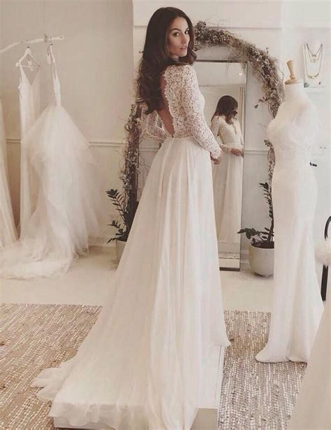 Chic A Line Wedding Dresses Long Sleeve V Neck Romantic