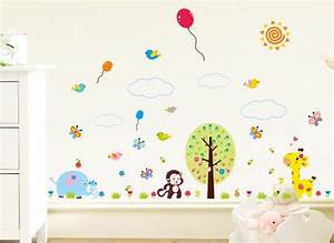 Wandtattoo Elefant Kinderzimmer : wandtattoo baum mit elefant affe giraffe und luftballons w5319 b ume ste kinderzimmer ~ Sanjose-hotels-ca.com Haus und Dekorationen
