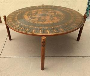 Stamped copper egyptian themed coffee table norway 1960 for Themed coffee tables