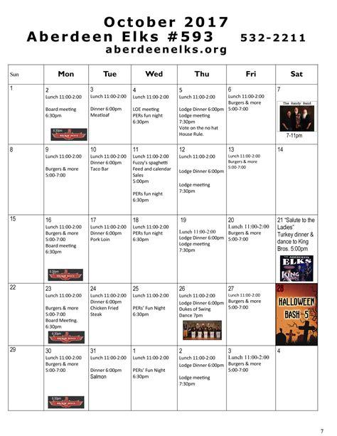 calendar october aberdeen elks