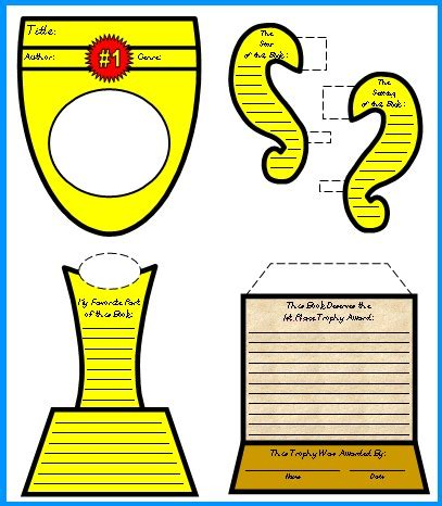favorite book report trophy project templates worksheets