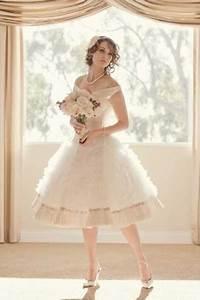 vintage inspired knee length full skirt ivory wedding With knee length vintage wedding dresses