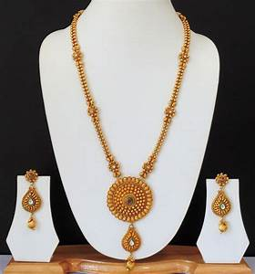 Ethnic Indian Bridial Jewelry Long Necklace Polki Gold ...
