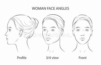 Face Woman Line Quarter Three Angles Different