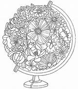 Coloring Pages Adult Flower Printable Instagram Sheets Grown Ups Adults Mandala Flowers Zen Printables Globe Floral Fall Colouring Coloriage Embroidery sketch template
