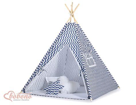 chambre a coucher des enfants tipi teepee pour enfant avec textile à zigzag bleu marine