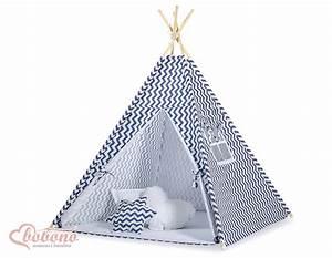 Tipi Enfant Exterieur : tipi teepee pour enfant avec textile zigzag bleu marine ~ Teatrodelosmanantiales.com Idées de Décoration