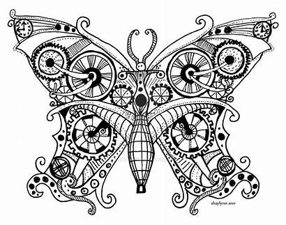 Steampunk Butterfly Coloring Deviantart Tattoo Gears Dessin