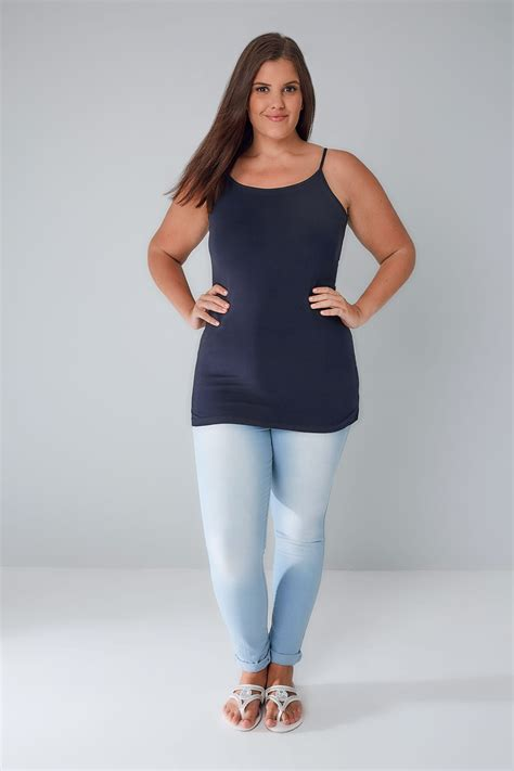 Navy Cami Vest Top Plus Size 16 To 32